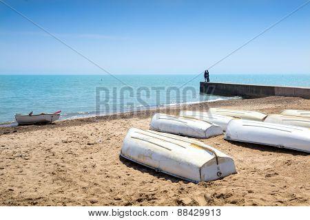 Row Boats On The Shore Of Lake Michigan