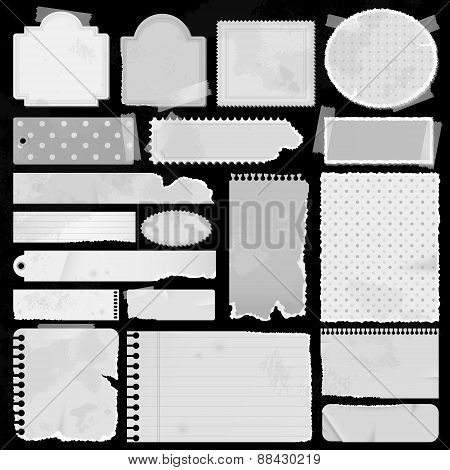 Various Old Silhouette Remnant Pieces Of Paper, Scrapbook, And Note Board, Create By Vector