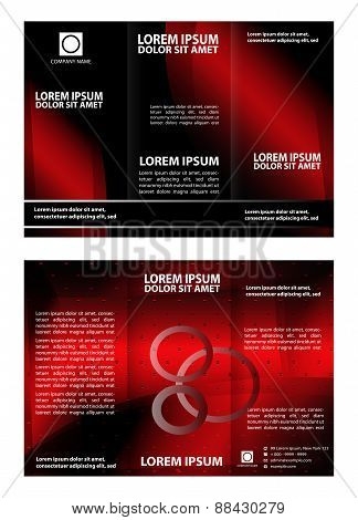 Vector modern tri-fold brochure design template with red background