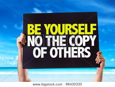 Be Yourself Not The Copy Of Others card with beach background