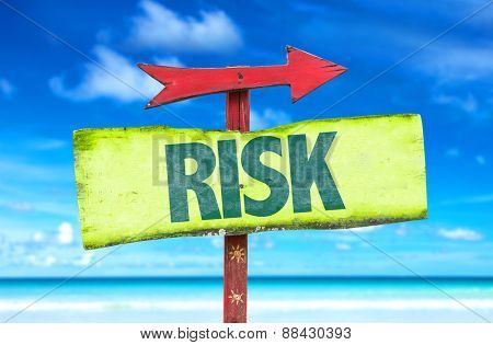 Risk sign with beach background