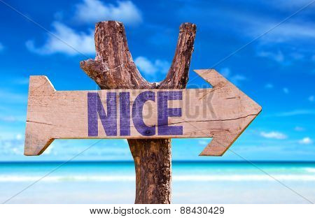 Nice wooden sign with beach background