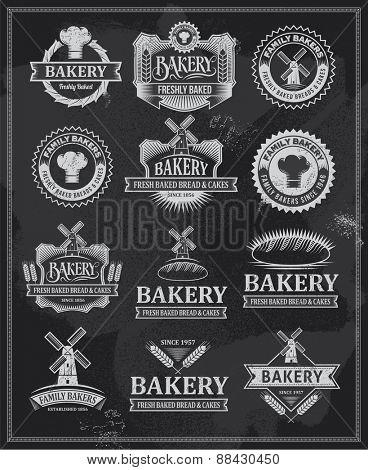 Set of retro vintage bakery labels and ribbons. Chalk typography design on blackboard. Chalkboard logo designs.