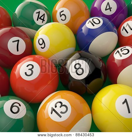Group of shiny billiard balls