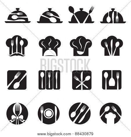 monochrome set of sixteen icons with kitchenware