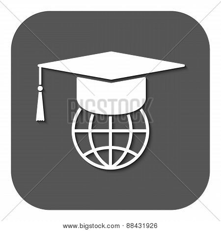 The Graduation Cap And Globe Icon.