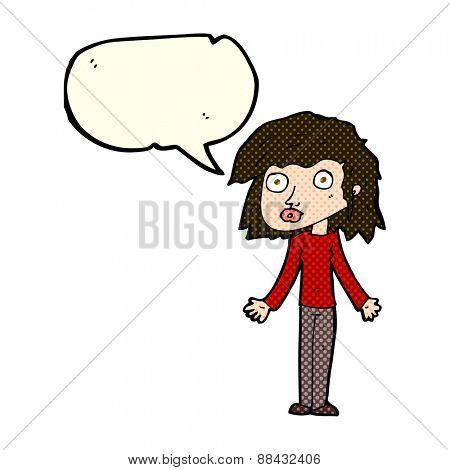 cartoon girl shrugging shoulders with speech bubble