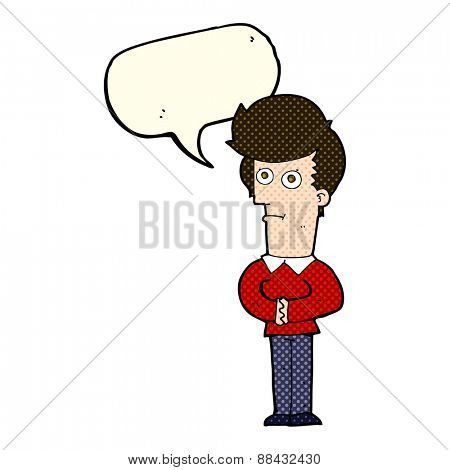 cartoon man staring with speech bubble