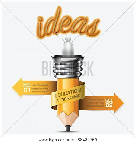 Education And Learning Step Infographic With Spiral Arrow Pencil Light Bulb
