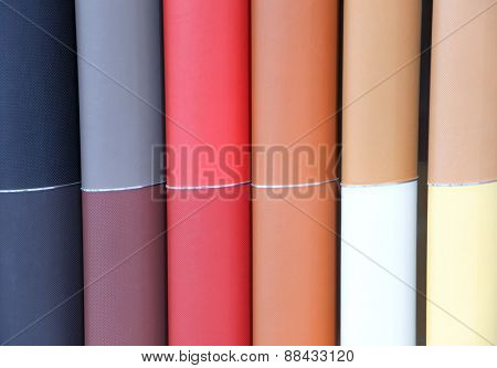 Different automotive leather colors in a row