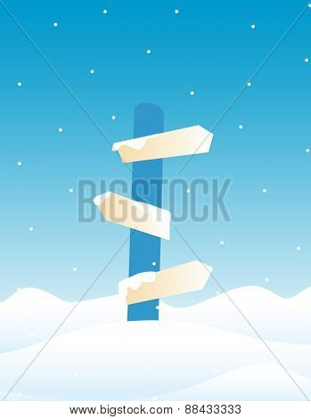 Direction Sign Board - Winter