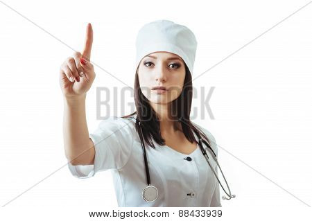 Young Caucasian female medical doctor woman presenting and showing copy space for product or text. i