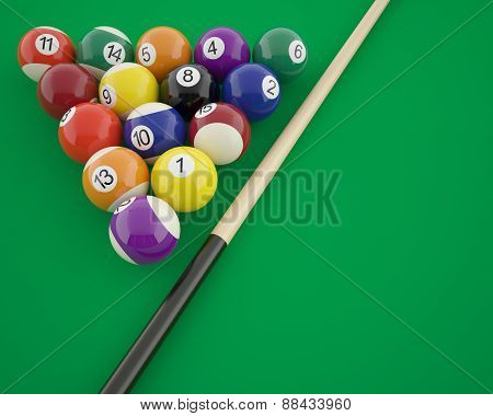 Billiard balls with cue on a green table.