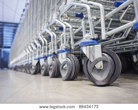 Trolley supermarket wheel in row