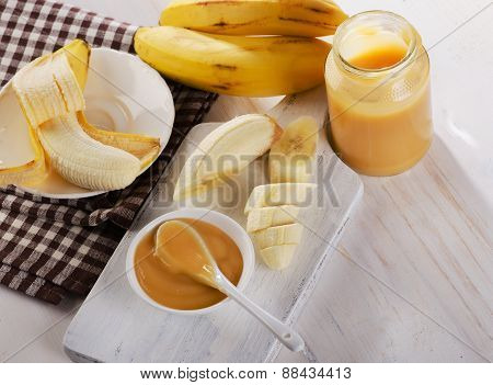 Baby Puree In A Jar With Bananas.