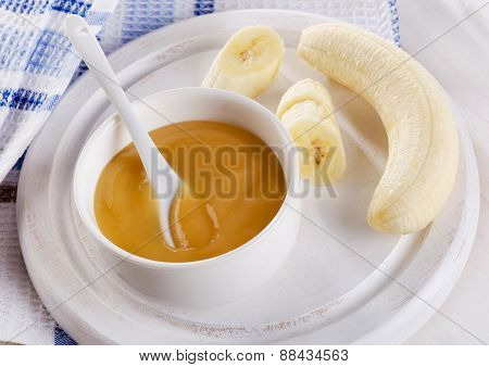 Baby Food - Bananas Puree In  A Bowl.