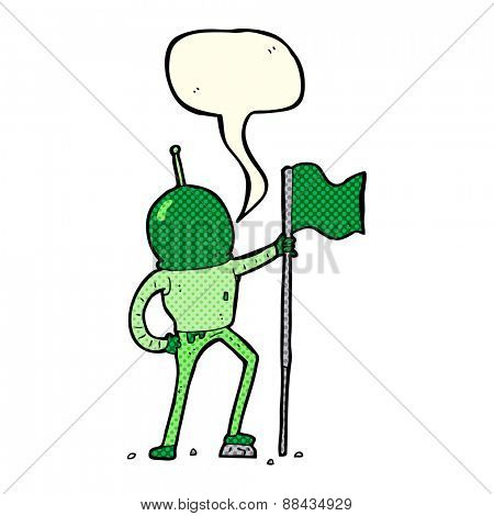 cartoon astronaut planting flag with speech bubble
