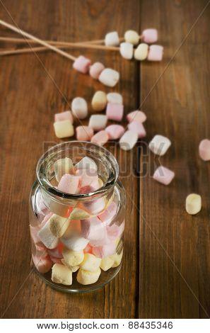 Marshmallows In A Glass Jar.