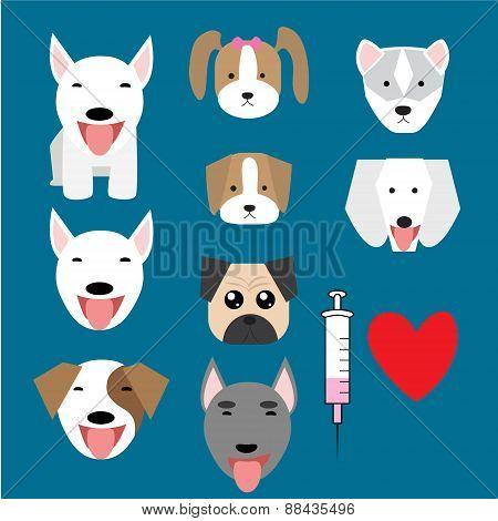 Set of baby dog logo and syringe