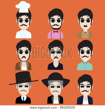 Collection of Hipster man in many job style
