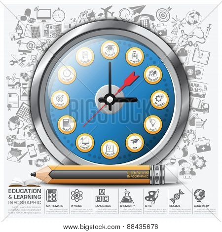 Education And Learning Clock Step Infographic Diagram