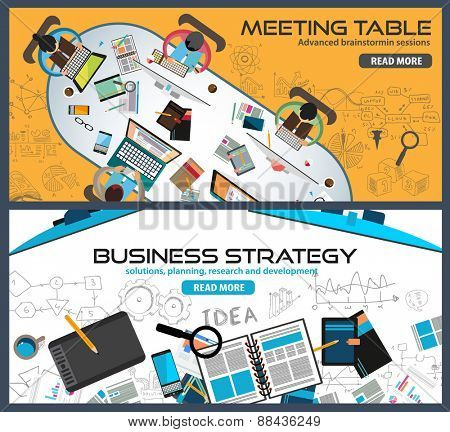 Flat Style Design Concepts for business strategy, finance, brainstorming, management, human resources, recruitment,meeting table, staff training.Ideal for printed material or web banners.