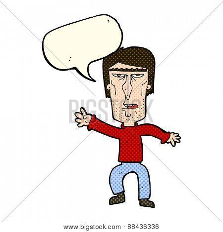 cartoon angry man waving warning with speech bubble