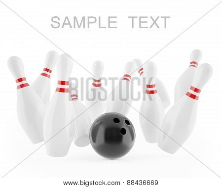 Illustration of a ball hitting the pins isolated on white background.