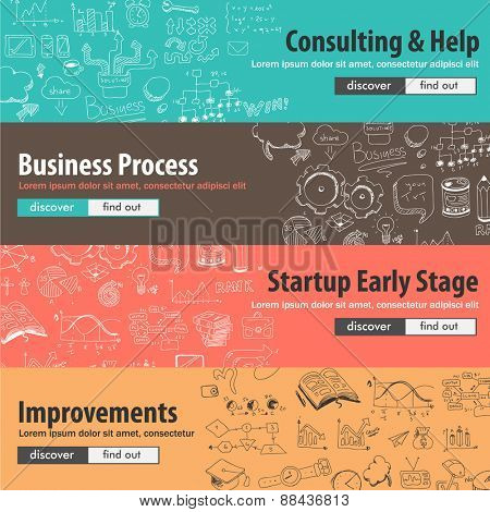 Flat design concepts for start ups, consulting,  business, finance, management, team work, analysis, strategy and planning, Ideal to use for printed materials, brochures or banners