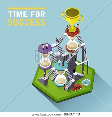 Time For Success Flat 3D Isometric Infographic