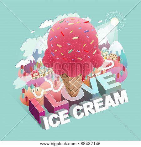 Love Ice Cream Concept Flat 3D Isometric Infographic
