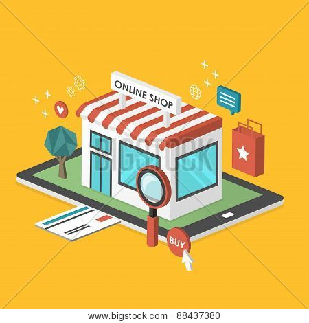 Online Shop 3D Isometric Infographic