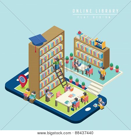 Online Library Concept 3D Isometric Infographic