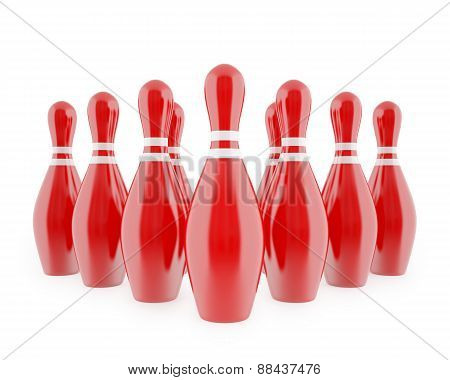 Red bowling pins with white stripes