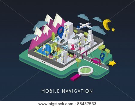 Mobile Navigation Concept 3D Isometric Infographic