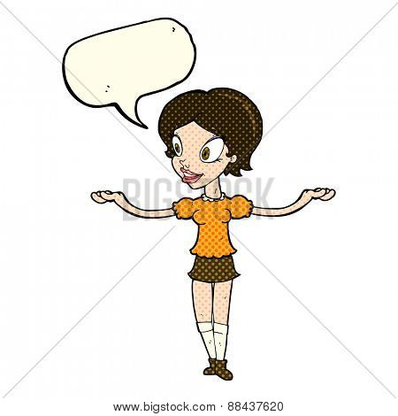 cartoon woman with arms spread wide with speech bubble