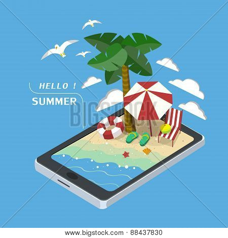 Summer Recreation Concept 3D Isometric Infographic