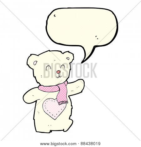 cartoon white teddy bear with love heart with speech bubble