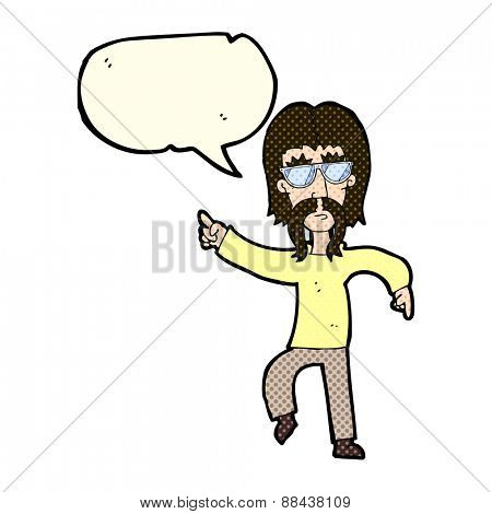 cartoon hippie man wearing glasses with speech bubble