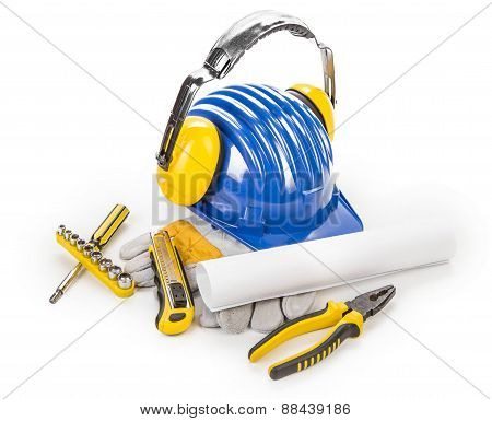 Hard hat with tools.