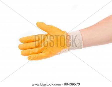 Hand in rubber yellow glove.
