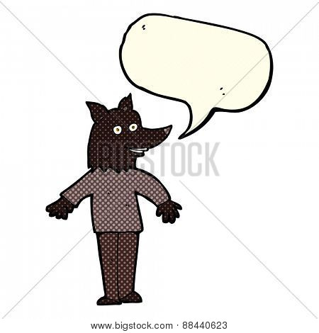 cartoon happy werewolf with speech bubble