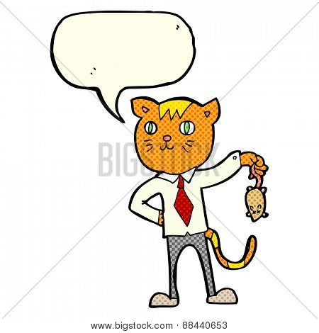 cartoon business cat with dead mouse with speech bubble