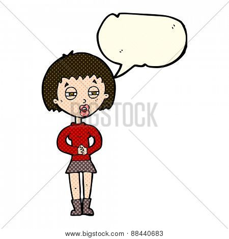 cartoon suspicious girl with speech bubble
