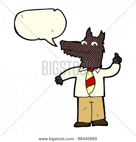 cartoon business wolf with idea with speech bubble
