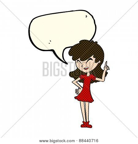 cartoon girl making point with speech bubble