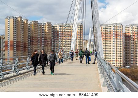 Krasnogorsk, Russia - April 18,2015. Pedestrian Bridge Is Built From Two Pylons, Each Measuring 41 M