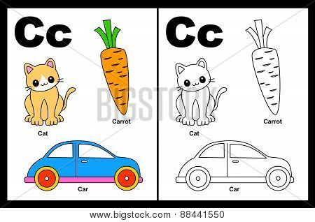 Kids Coloring Book Page Letter C