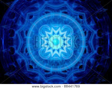 Blue Glowing Magical Space Mandala