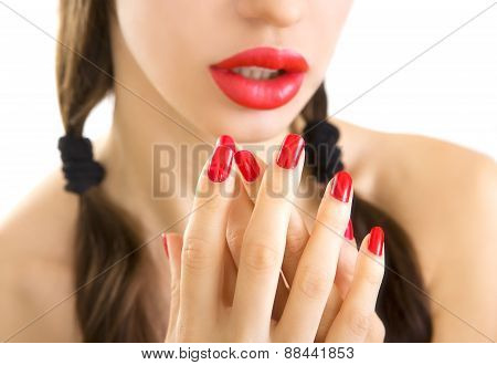 Beautiful Women With Stylish Make-up, Red Lipstick And Hands With Red Manicure.